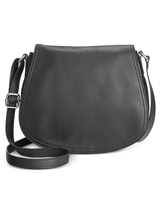 GIANI BERNINI NAPPA LEATHER FULL FLAP SADDLE BLACK