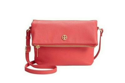 GIANI BERNINI PEBBLE LEATHER ZIPPER DEEP SEA CORAL
