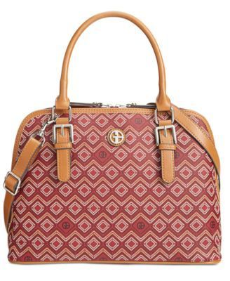 GIANI BERNINI SAFFIANO GRAPHIC DOME SATCHEL WINE MULTI