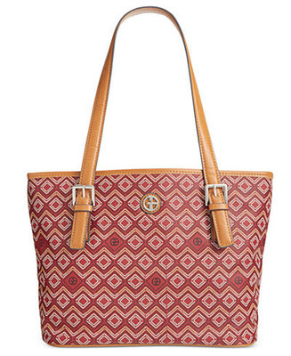 GIANI BERNINI SAFFIANO GRAPHIC TOTE WINE MULTI