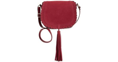 INC WILLOW SADDLE TASSEL BAG WINE