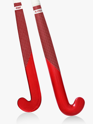 RAGE RED METALLIC HOCKEY STICK 75% CARBON LOW BOW