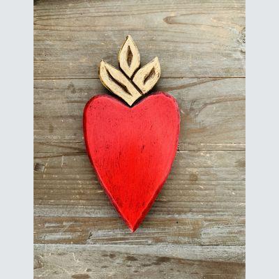 Corazón Madera Rojo Llama Dorada1