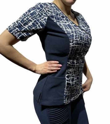 Uniforme Clinico Delantal Mujer Venas Azul Marino2
