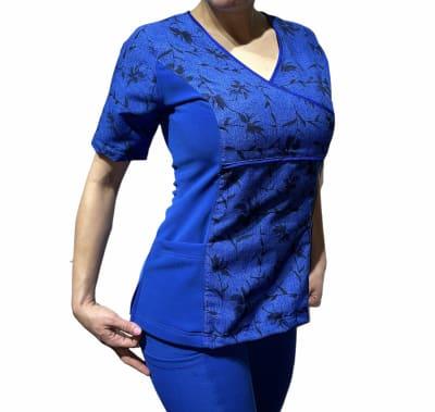 Uniforme Clinico Delantal Mujer Petunia Spandex Ramas Azul Rey1