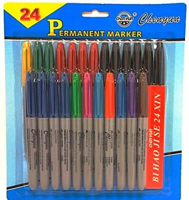 12 PLUMONES PERMANENTE 24 COLORES DELGADO CHENYUN JP179491