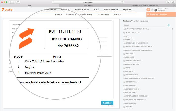 Ticket de cambio Bsale