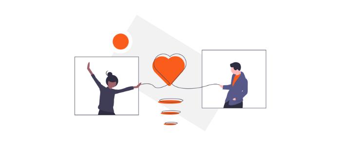 Dos siluetas de personas con un corazón