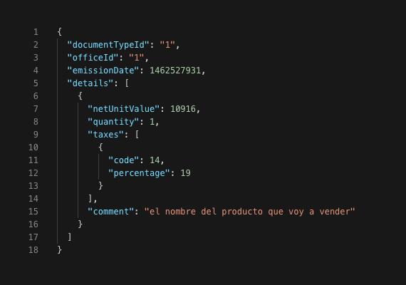 Código en JSON para generación de boleta electrónica