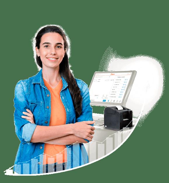 Mujer Emprendedora usando Bsale