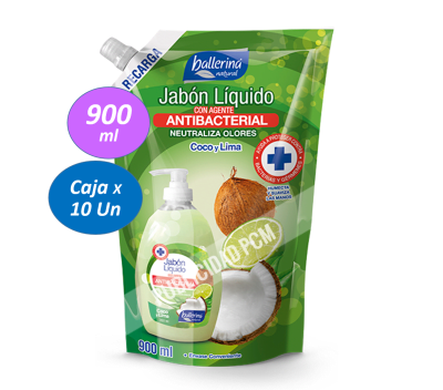 JABON ANTIBACTERIAL COCO LIMA DP 900 ML1