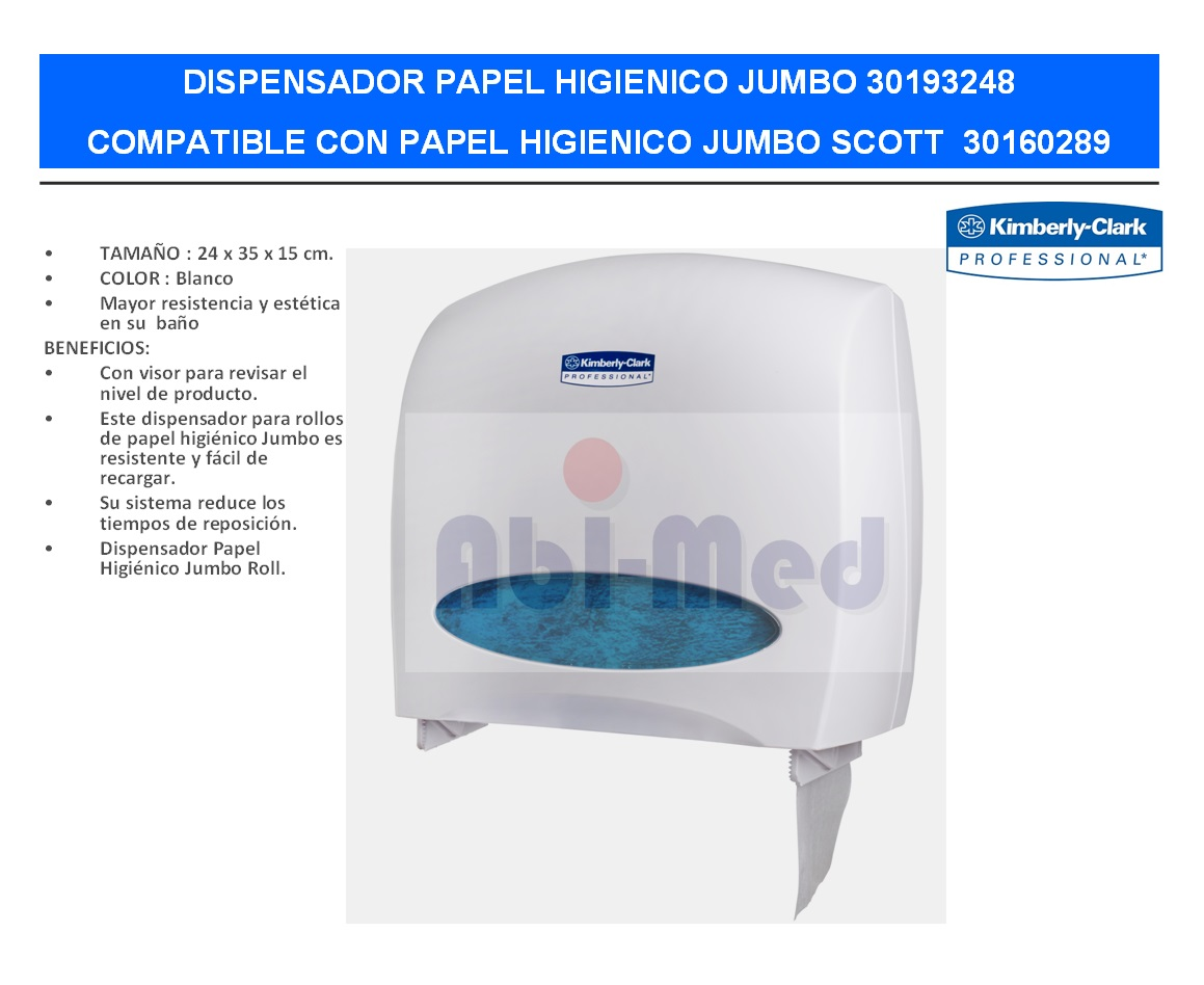 DISPENSADOR PAPEL HIGIENICO JUMBO KIMBERLY CLARK