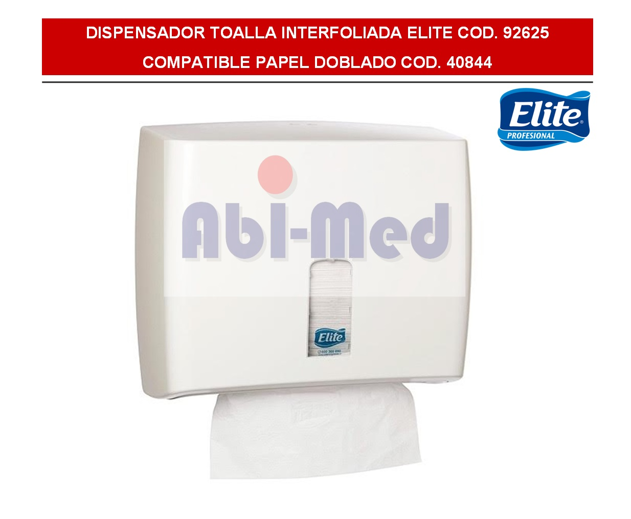 DISPENSADOR TOALLA DOBLADA ELITE BLANCO