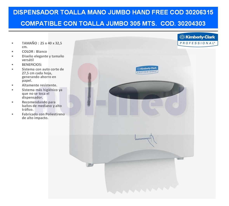 DISPENSADOR TOALLA MANO JUMBO HAND FREE KIMBERLY C