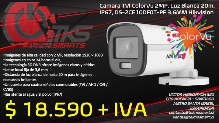 camara tvi colorvu 2mp luz blanca 20m ip67 ds 2ce10df0t pf 3 6mm hikvision