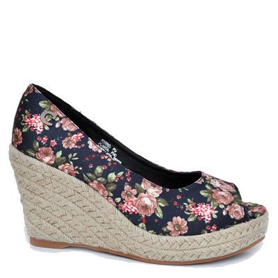 Zapato Taco Yute Dedo Abierto, Diseño Flores Negro