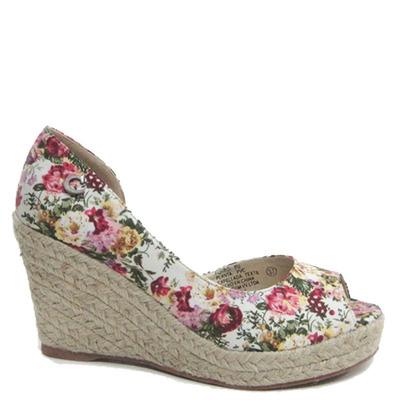 Zapato Taco Yute, Lado Abierto con Diseño Flores