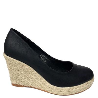Zapato Bassic Negro taco de yute