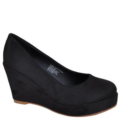 Zapato Bassic Negro Gamuza taco forrado