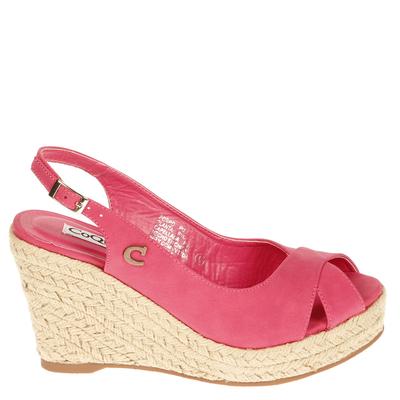 Zapato Taco Yute Cruzada Fucsia