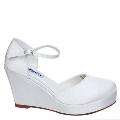 Zapato de Novia con Traba, Satín Blanco