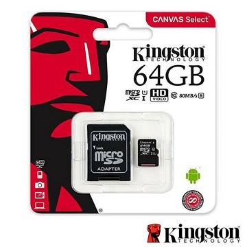 KINGSTON MICRO SDXC 64 GB  80 MB/S CLASE 10