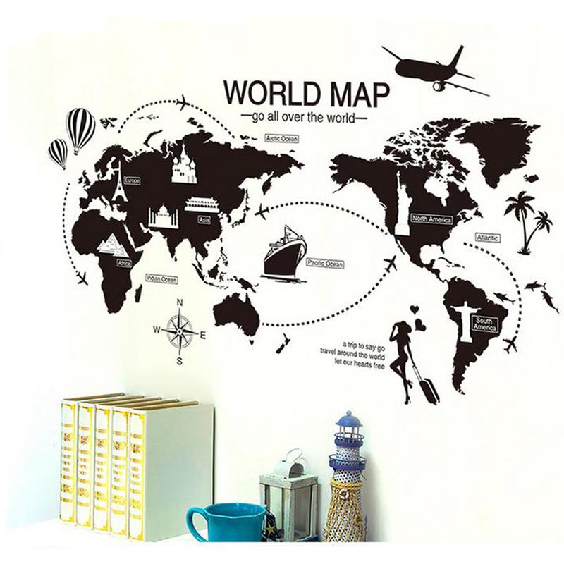 Mapa mundi vinilo mural vanguardista negro - Mural mapa mundi ...