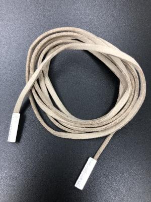 BA2632-Collar tira cuero liso beige con puntas cuadradada plat