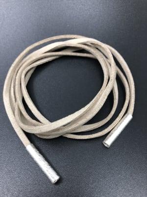 BA2633-Collar tira cuero liso beige con puntas redondas  plat