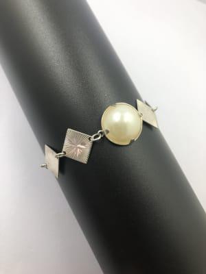 BA3190-Pulsera perla blanca plateada