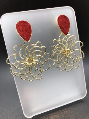 BA3413-Aros bs got roja flor de alambre peq dorado