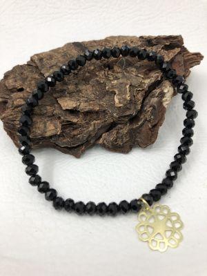 BA3958 puls cristal negro, colg flor Dor