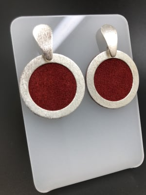 BA4095-Aros pequeños redondos cuero  Rojos bs gota Plateados