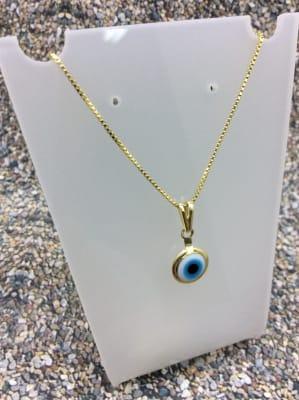 BA4102-Collar ojo turco celeste cadena dorada
