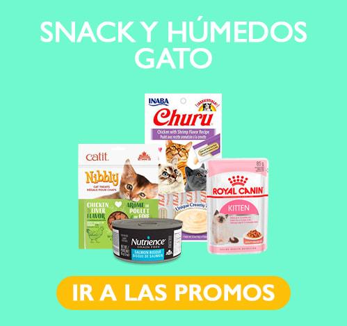 snack y alimentos humedos gatos